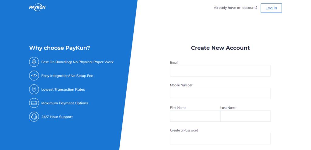 Paykun Registration Page