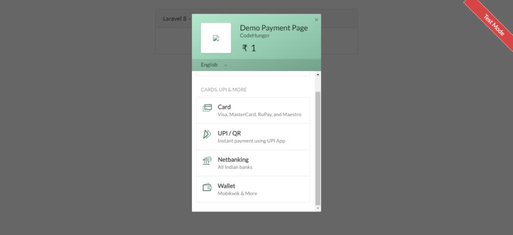 razorpay payment gateway choose paymet way