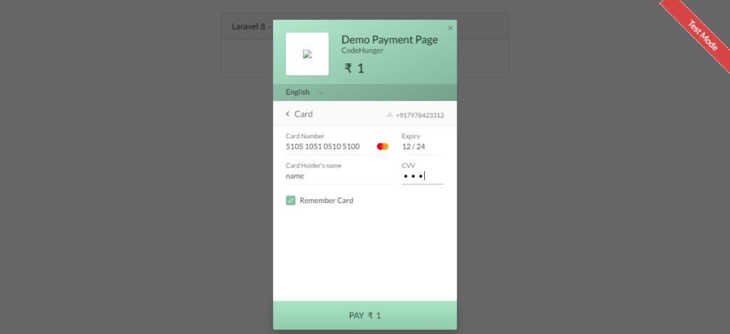 razorpay payment gateway payment popup