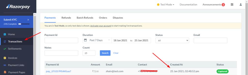 razorpay payment gateway dashboard