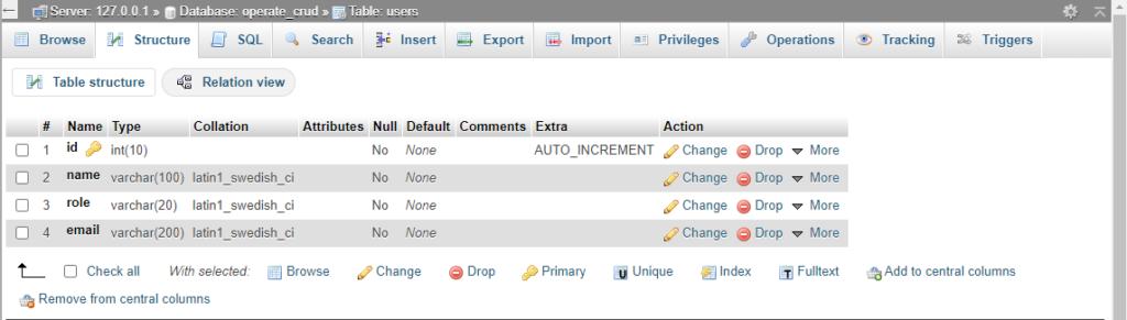 phpmyadmin database table